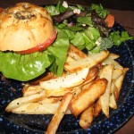 Black Bean Burgers on Bialy Buns with Fries (5)